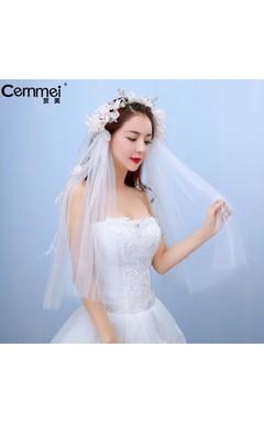 Korean Bride Yarn Short Thread Yarn Bride Qi Floor Wedding Short Head Yarn Flower Head Ornaments