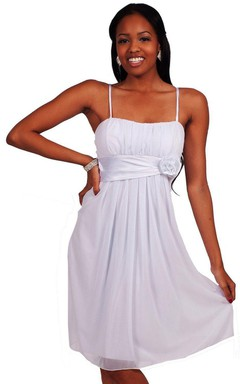 Sleeveless Chiffon Dress With Floral Belt
