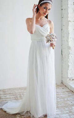 Ethereal Bohemian Floor-Length Tulle Spaghetti Maternity Dress