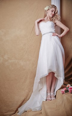 Empire Waist With Sparkling Belt and Hi Low Hemline Modern and Classic Elements