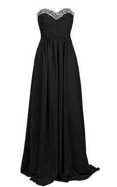 Sweetheart A-line Chiffon Dress With Sequined Bustline