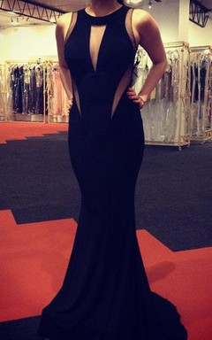 Sexy Black Sleeveless Mermaid Prom Dresses 2016 Floor Length