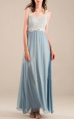 Empire Floor-length Strapped Empire Chiffon&Lace Dress