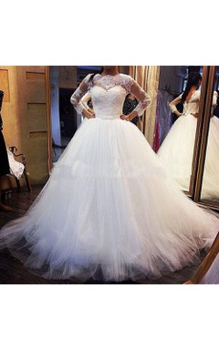 Luxury Bateau Neckline Tulle Ball Gown With Lace Long Sleeve and Lace Up