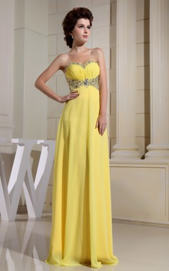 Sweetheart Floor-Length Sheath Dress With Beaded Top