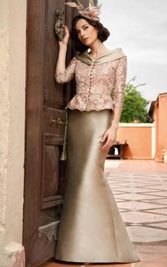 Satin Mermaid Dress With Lace Jacket