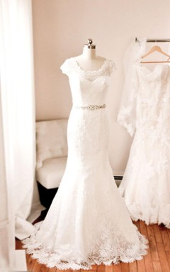 Scoop Neck Cap Sleeve French Lace Mermaid Wedding Dress With Beaded Waistband