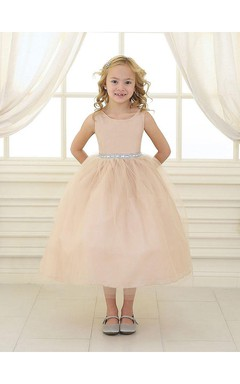 Sleeveless Scoop Neck Pleated Ball Gown Tulle Dress With Beaded Waistline