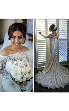 Sexy Off-the-shoulder Long Sleeve Mermaid Wedding Dress With Lace Beadings