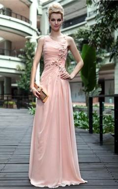 Pink Sexy Sheath Floor-length Spaghetti Straps Dress