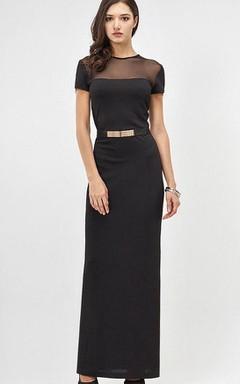 Illusion Maxi Short Sleeve Formal Dress