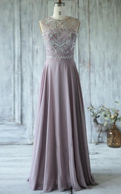 A-line Maxi Chiffon&Tulle Dress With Beading&Illusion