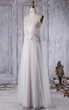 A-Line Floor-Length V-Neck Tulle Lace Dress With Beading Flower Illusion