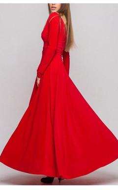 Hot V-neck Long Sleeve Jersey Dress