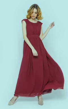 Marsala Modest Bridesmaid Dress