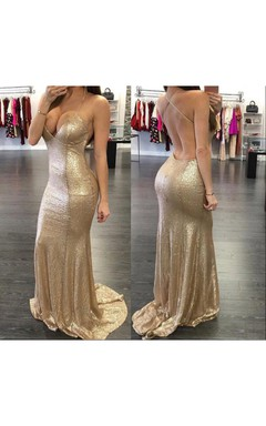 Sexy Sleeveless Mermaid Sequins Prom Dresses 2016 Floor Length