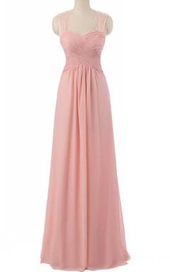 Strapped Chiffon&Lace Dress With Pleats