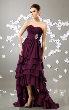 Modern Sweetheart Sleeveless High-Low Dress With Layers And Broach