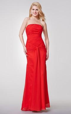 Backless Strapless Draped Long Chiffon Dress
