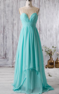 A-line Maxi Sweetheart Backless Chiffon Dress With Beading&Illusion