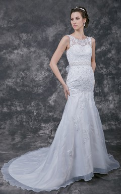 Graceful Illusion Bateau Beaded and Appliqued Organza Gown With Beading Waistband Detailing