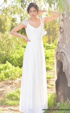V-Neck Cap Sleeve Long A-Line Chiffon Wedding Dress With Beading