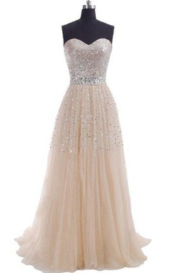 Sweetheart Long Pleated Dress With Sequins