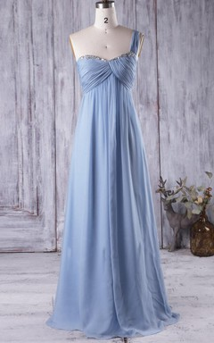 Empire Long One-shoulder Sweetheart Empire Chiffon Dress With Beading