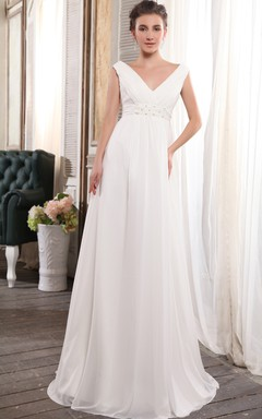 Adorable Strapless Deep Empire Gown With Crystal Detailing