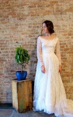 Lace Weddig Dress With Beading Sequins