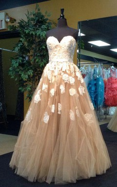 Floor-length Lace Appliqued A-line Tulle Ballgown