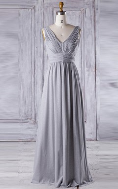 A-line Floor-length V-neck Backless Chiffon Dress With Sequins