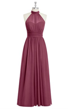 Pleated Floor Length Sleeveless Chiffon Dress With Halter
