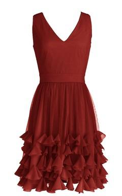 V-neckline Bridal Dress With Ruffled Skirt