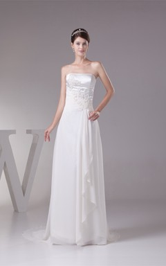 Strapless Sheath Floor-Length Dress with Pleats and Appliques