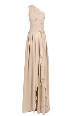 One-shoulder Ruched Chiffon Gown With Asymmetrical Hem