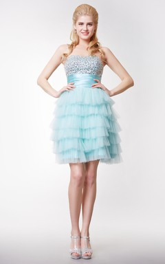 Sweetheart A-line Mini Dress with Cascading TieredSkirt