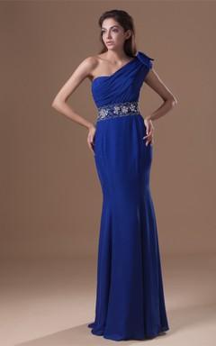 one-shoulder sheath chiffon dress with epaulet and jeweled waist