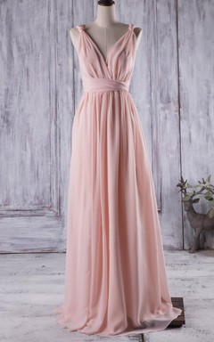 Floor-length Backless Chiffon Dress With Illusion