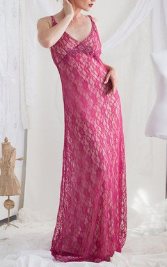 Lace Dress With Beading&Broach
