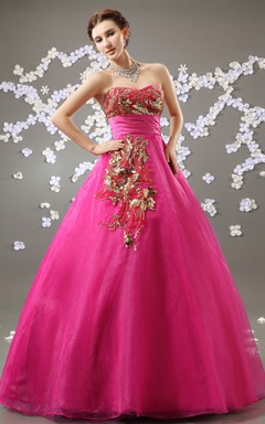 Sweetheart Sleeveless A-Line Organza Ball Gown With Golden Embellishment