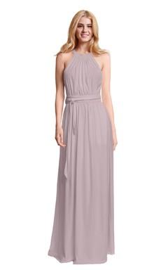 Halter Sleeveless Chiffon Dress With Bow