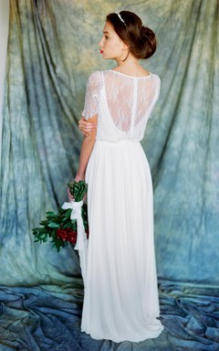 Vintage Inspired Non-Corset A-Line Chiffon Wedding Dress With Lace Overlaying Top