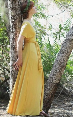 Gold Long Convertible Wrap Gown Maxi Vintage Grecian Dress