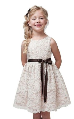 Sleeveless A-line Lace Dress With Bow