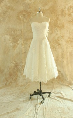 A-Line Tea-Length Lace Wedding Dress With Ruching And Sweetheart Neck