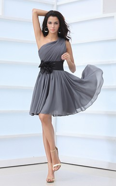Lovely Asymmetrical One-Shoulder Dress With Floral Sash