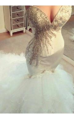 Glamorous Mermaid Beadings Tulle Wedding Dress 2016 Long Train