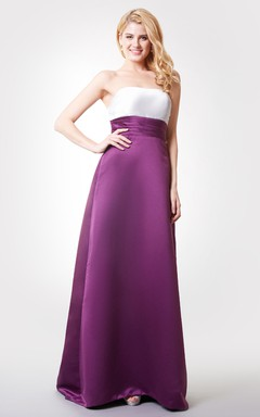 Backless A-line Long Satin Dress With Sash