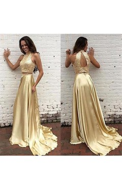 Sleeveless Sequins High Neck Long Taffeta Dress